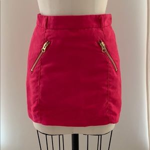 H&M Divided Faux Pink Skirt with Gold Zippers- 34